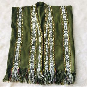 Jackets & Blazers - Boho Tribal Print Olive Fridge Buttoned Vest
